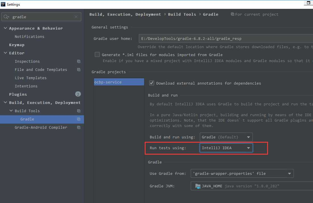 springboot + Gradle test时报错:No tests found for given includes